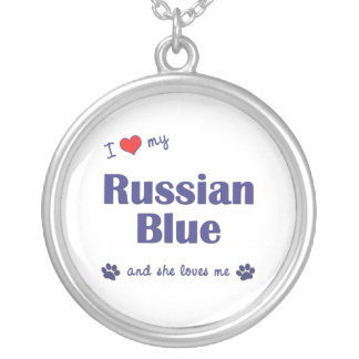 I Love My Russian Blue (Female Cat) Round Pendant Necklace