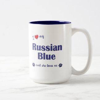 I Love My Russian Blue (Female Cat) Two-Tone Coffee Mug