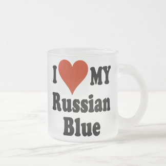 I Love My Russian Blue Frosted Coffee Mug