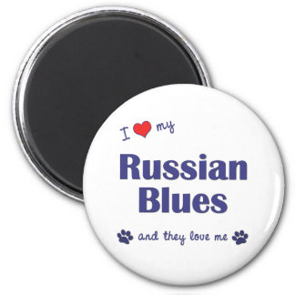 I Love My Russian Blues (Multiple Cats) 2 Inch Round Magnet