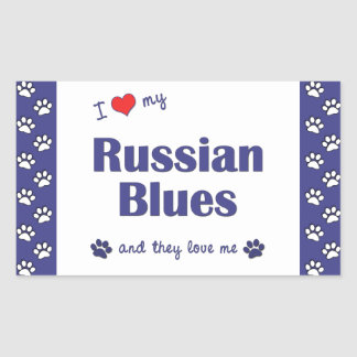 I Love My Russian Blues (Multiple Cats) Rectangular Sticker