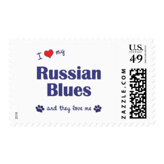 I Love My Russian Blues (Multiple Cats) Stamp