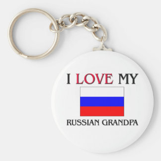 I Love My Russian Grandpa Basic Round Button Keychain