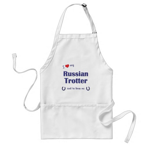I Love My Russian Trotter (Male Horse) Adult Apron
