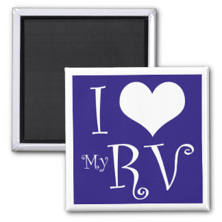 I Love My RV Magnet in Blue