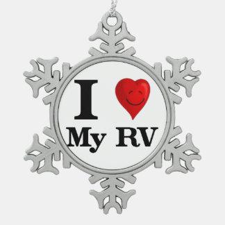 I Love My RV Snowflake Pewter Christmas Ornament