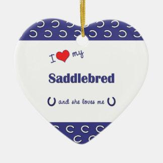 I Love My Saddlebred (Female Horse) Double-Sided Heart Ceramic Christmas Ornament