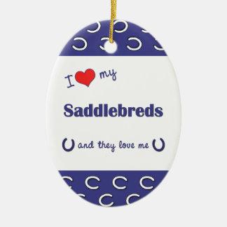 I Love My Saddlebreds (Multiple Horses) Double-Sided Oval Ceramic Christmas Ornament
