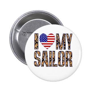 I Love My Sailor 2 Inch Round Button