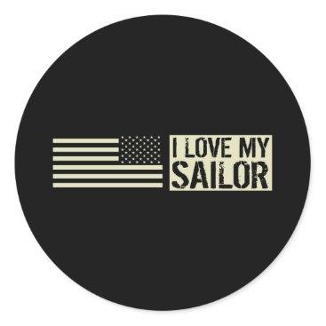 I Love My Sailor Classic Round Sticker