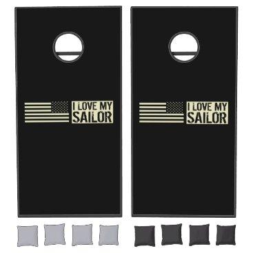 I Love My Sailor Cornhole Set
