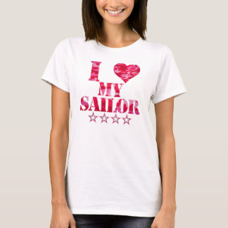 i love my sailor cute pink camouflage T-Shirt