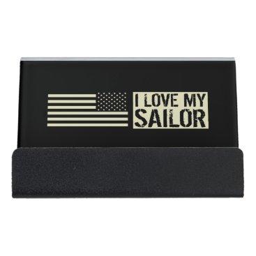 I Love My Sailor Desk Business Card Holder
