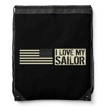 I Love My Sailor Drawstring Backpack
