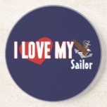 I Love My Sailor Drink Coasters