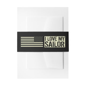 I Love My Sailor Invitation Belly Band