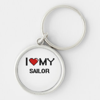 I love my Sailor Silver-Colored Round Keychain