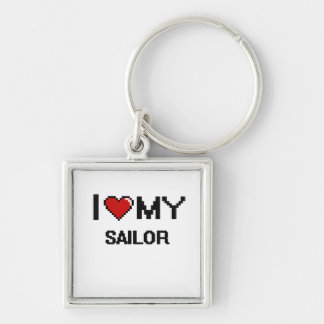 I love my Sailor Silver-Colored Square Keychain