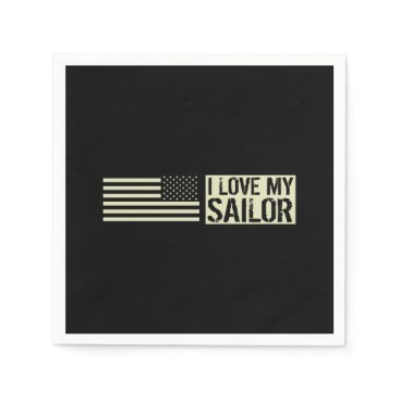 I Love My Sailor Napkin