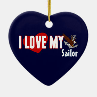 I Love My Sailor Double-Sided Heart Ceramic Christmas Ornament