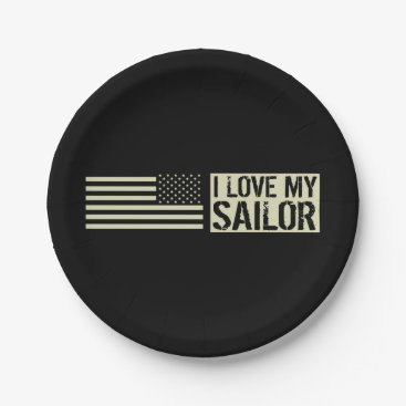 I Love My Sailor Paper Plate