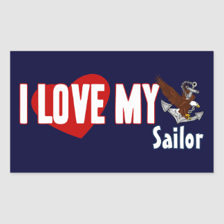 I Love My Sailor Rectangular Sticker