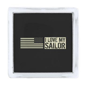 I Love My Sailor Silver Finish Lapel Pin