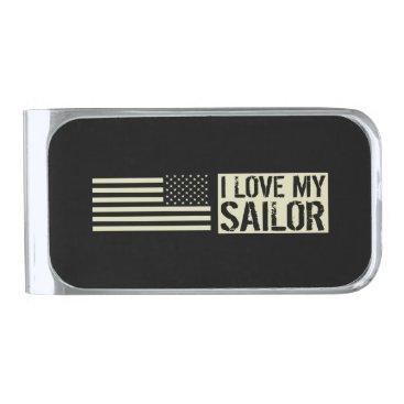 I Love My Sailor Silver Finish Money Clip