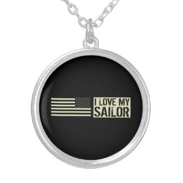I Love My Sailor Silver Plated Necklace