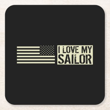 I Love My Sailor Square Paper Coaster