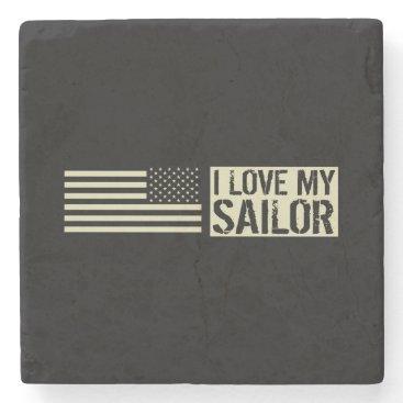 I Love My Sailor Stone Coaster