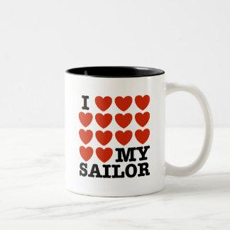 I Love My Sailor Two-Tone Coffee Mug