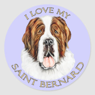 I Love my Saint Bernard Classic Round Sticker
