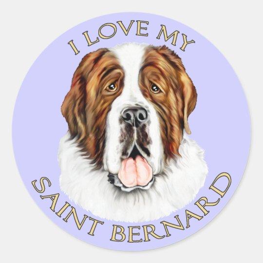 I Love my Saint Bernard Classic Round Sticker