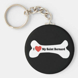 I Love My Saint Bernard - Dog Bone Keychain