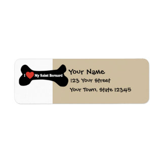 I Love My Saint Bernard - Dog Bone Return Address Label