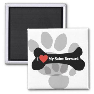 I Love My Saint Bernard - Dog Bone Magnet