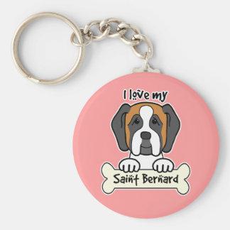 I Love My Saint Bernard Keychain