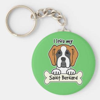 I Love My Saint Bernard Keychains