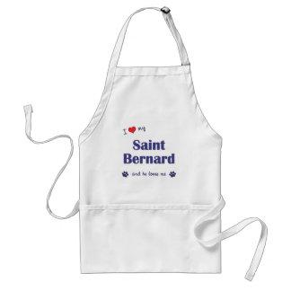I Love My Saint Bernard (Male Dog) Adult Apron