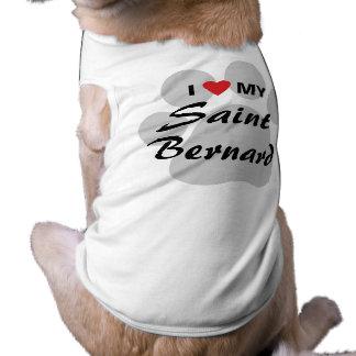 I Love My Saint Bernard Pawprint Pet Tshirt