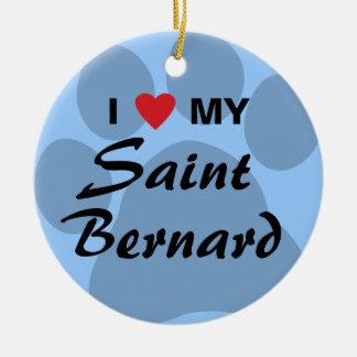 I Love My Saint Bernard Pawprint Christmas Tree Ornaments