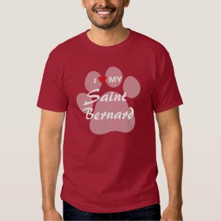 I Love My Saint Bernard Pawprint T Shirt