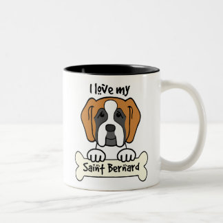 I Love My Saint Bernard Two-Tone Coffee Mug