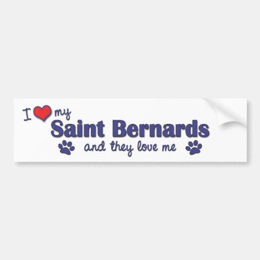 I Love My Saint Bernards (Multiple Dogs) Bumper Sticker