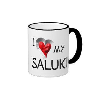 I Love My Saluki Ringer Coffee Mug