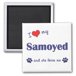 I Love My Samoyed (Female Dog) 2 Inch Square Magnet