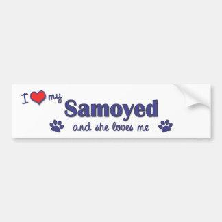 I Love My Samoyed (Female Dog) Bumper Sticker