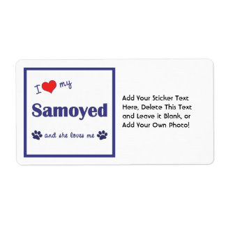 I Love My Samoyed (Female Dog) Personalized Shipping Labels