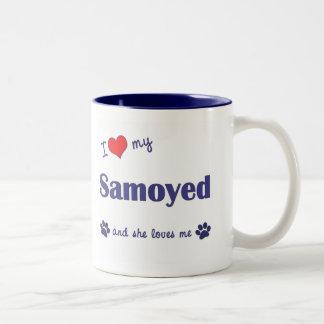 I Love My Samoyed (Female Dog) Two-Tone Coffee Mug